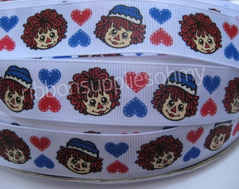 "7/8"" 1"" Grosgrain Ribbon RAGGEDY Ann and Andy Inspired 5 YARDS Making Hair Bow Supplies Printed Ribbon by the yard we sell wholesale ribbon"