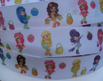 "7/8"" 1"" Grosgrain Ribbon STRAWBERRY SHORTCAKE Ribbon 5 YARDS Making Hair Bow Supplies Printed Ribbon by the yard we sell wholesale ribbon"