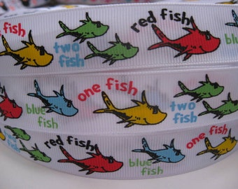 """7/8"""" One Fish Two Fish Red Fish Blue Fish Dr. SEUSS Inspired White Printed Grosgrain Ribbon Hair Bow Supplies - 5 YARDS"""