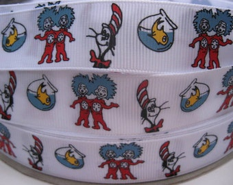 """7/8"""" Ribbon Thing One Thing Two Dr. SEUSS Inspired White Printed Grosgrain Ribbon Cat In The Hat Supplies"""
