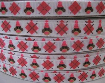 3/8 SOCK MONKEY MTMG Made To Match Gymboree Printed Grosgrain Ribbon scrapbooking craft Hair Bows we sell wholesale