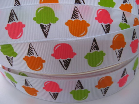 7/8 ICE CREAM Colorful Grosgrain Ribbon 5 YARDS Making Hair Bow Scrapbooking Scrapbook Craft Supplies