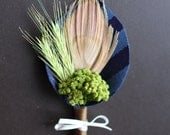Oscar - Peacock Feather Rustic Boutonniere