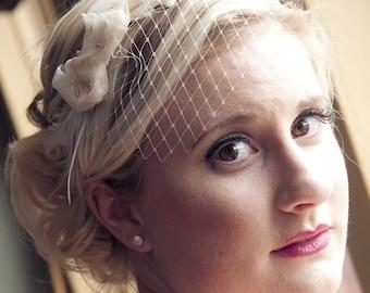 Small Ivory Veil Bridal Headband /// Marjorie