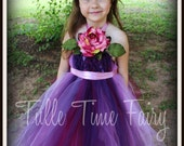 Eggplant wine rosey mauve tutu flower girl fairy dress and hair clip premade size 4t/5