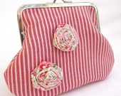 Light Red Lisa Purse with Frayed Rosette
