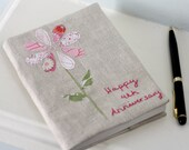 Personalized Notebook Made from Vintage Linen