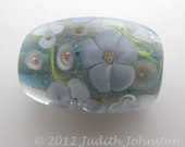 "Lampwork Flower Focal Bead, blue gray with purple & white flowers  SRA UK ""Posy"""