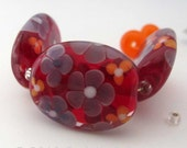 Floral Lampwork Glass Beads, Red Handmade Bead Set,