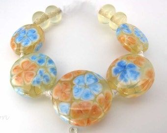 Set of Handmade Yellow & Blue Floral Lampwork Beads