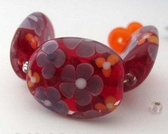 Floral Lampwork Glass Beads, Red Handmade Bead Set,