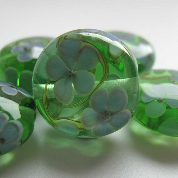 "Lampwork Bead Set green floral straight sided lentil glass beads ""Spring"" SRA UK"