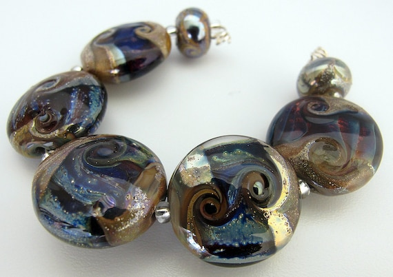LAMPWORK BEAD SET,  Blue and Silver Glass Flamework Beads, British Lampwork Handmade by Judith Johnston