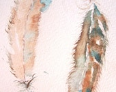 The Gift Bird Feathers Watercolor Painting Original Art