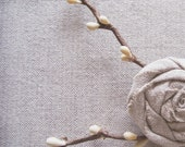 Rose Nest Woodland Nature Brooch Pin French Linen