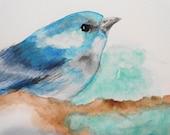 Blue Bird Nature Watercolor Summer Sky Original Art Painting