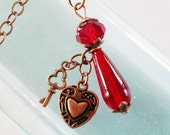 Necklace Key to My Heart Red Copper