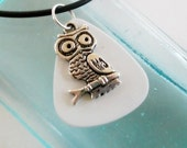 Guitar Pick Jewelry Necklace Owl Be a Rock Star One Day White