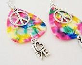 Guitar Pick  Earrings  Peace Love Pink Mosaic