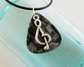 Guitar Pick Necklace Treble Clef Black Pearloid