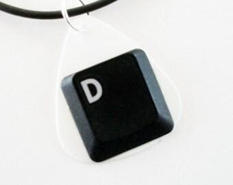 Guitar Pick Necklace Computer Key D Initial Monogram