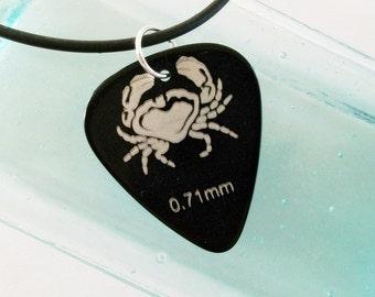 Guitar Pick Necklace Cancer Crab Horoscope Black UNISEX