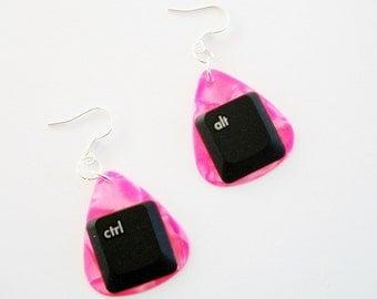 Guitar Pick Jewelry Earrings ctrl alt Computer Key Pink Pearloid Geekery Nerd