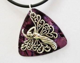 Guitar Pick Necklace Fairy Purple Pearloid