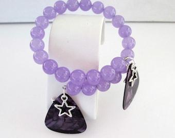 Guitar Pick Bracelet Purple Pearloid Lilac Alexandrite Star