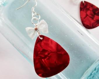 Guitar Pick Earrings Red Pearloid Mesh Bow