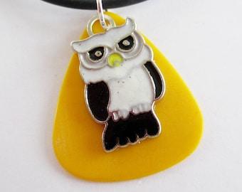 Guitar Pick Necklace Owl Black White Yellow