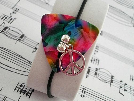 Guitar Pick Bracelet Peace Pink Tie Dye
