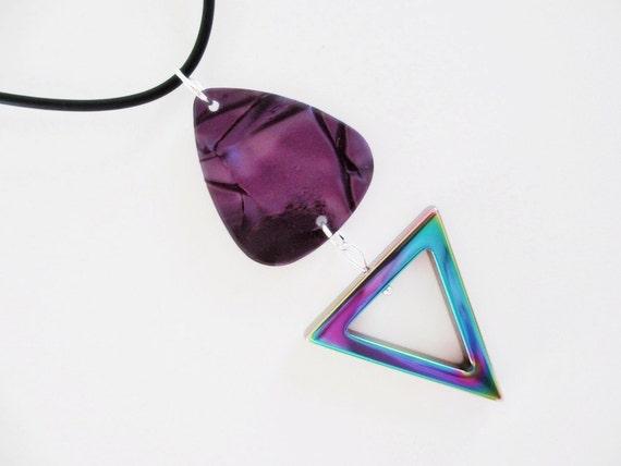 Guitar Pick Necklace Hematite Triangle Purple Pearloid