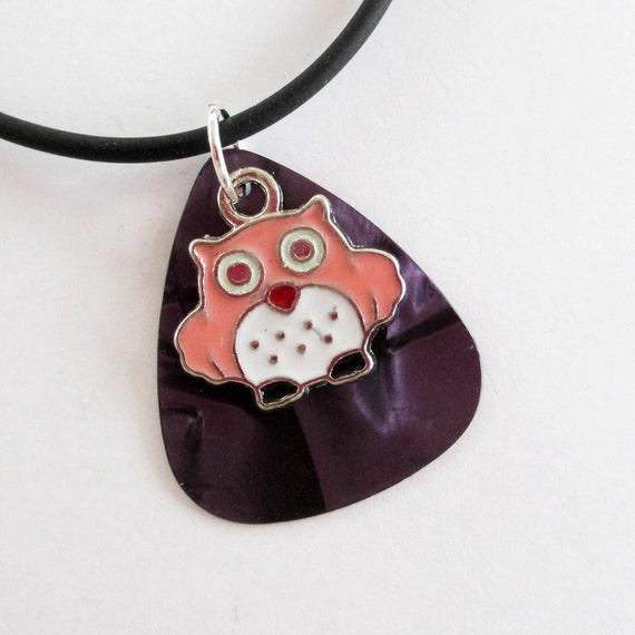 Guitar Pick Necklace Owl Purple Pearloid