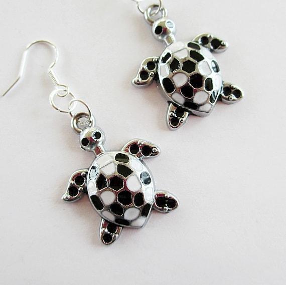 Cute Turtle Earrings Black  White Silver Kitsch