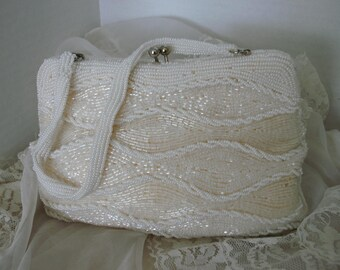 Vintage Beaded  Evening Bag Kiss Lock Clasp FREE SHIPPING