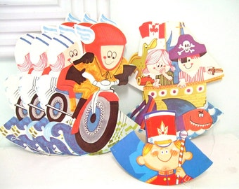 Vintage Birthday Party Hats 1970s by Party Time Products Ltd in Canada New Old Stock