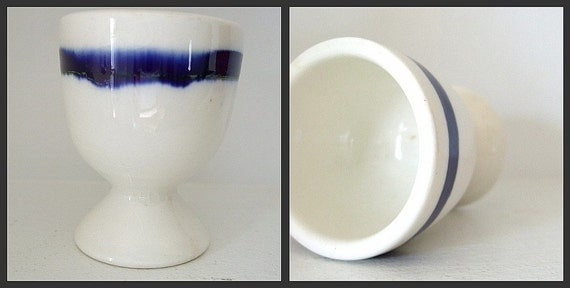Vintage Flow Blue China Egg Cup