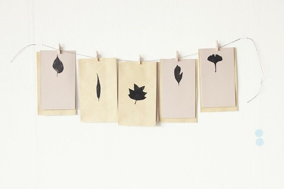 set of envelopes & cards with leaves