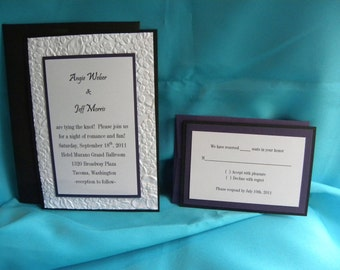 5x7 Wedding Invitation Suite with Embossed Layer Customize Your Colors