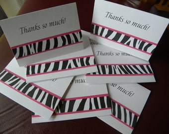 Zebra and Hot Pink Thank You Notes with Coordinating Envelope