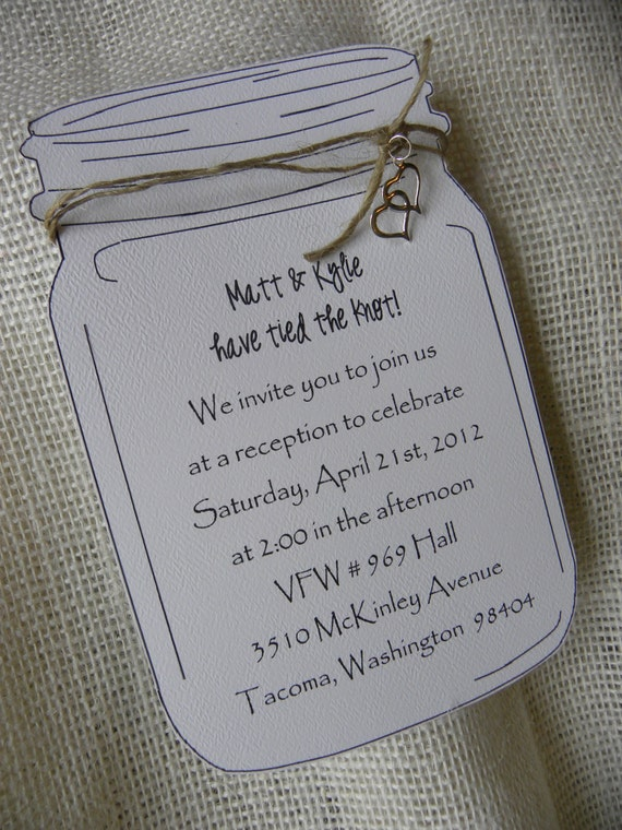 Mason Jar Custom Invitation for Wedding, Birthday, Shower, or Party