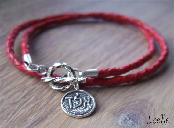 Red Leather Kabbalah Bracelet with Sterling Silver ALD Charm