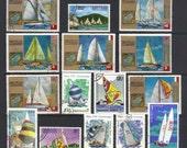 Vintage postage stamps - Sailing boats