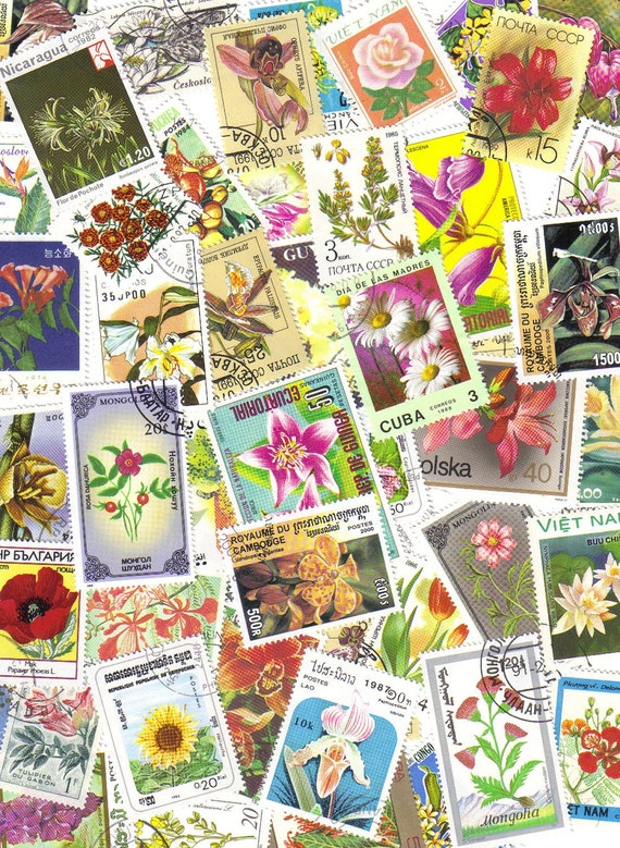 50 Mixed flowers - Vintage postage stamps - Roses - Flora - Orchids - Floral