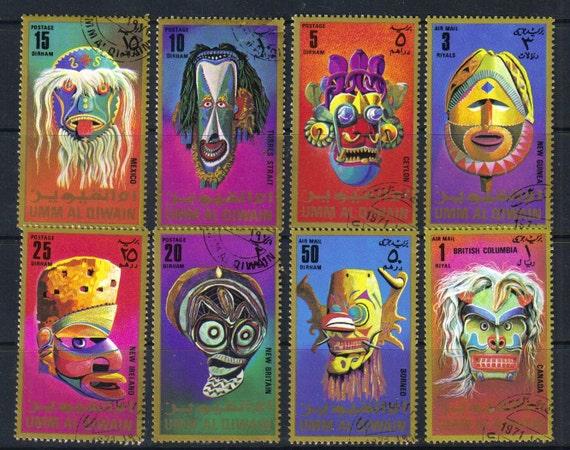 Masks and headresses - Vintage postage stamps