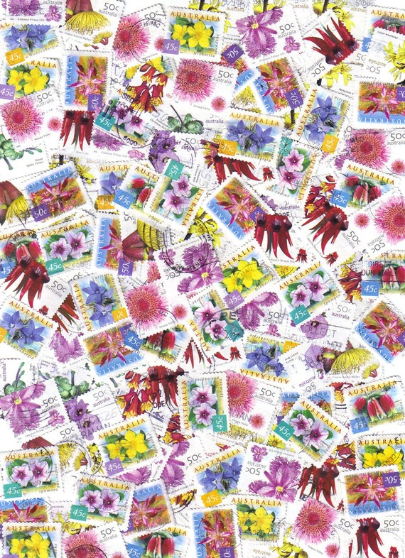 50 Wild flowers - Postage stamps from Australia