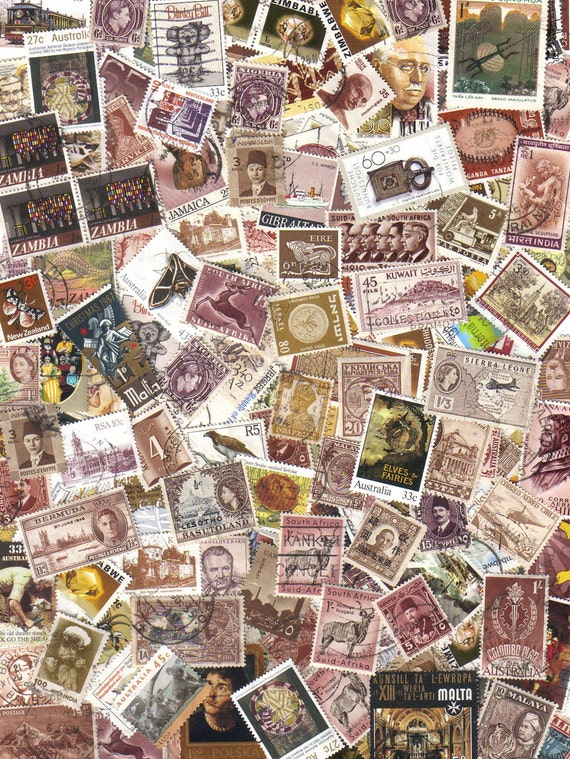 100 World wide brown - Vintage postage stamps