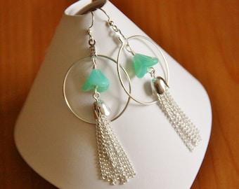 Tassel and hoop earrings beaded long drop dangle green glass bead chain tassel silver hoops hypoallergenic surgical steel ear wires jewelry