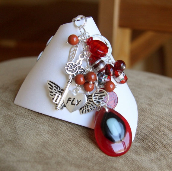 Red and silver purse dangle